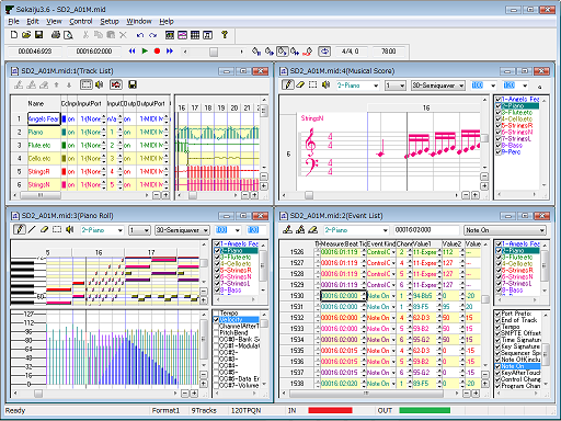 A screenshot of Sekaiju, free and open source MIDI sequencer.