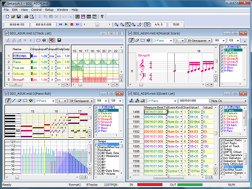 A screenshot of Sekaiju, free and open source MIDI sequencer software.